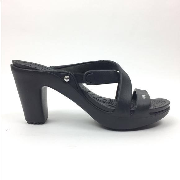 33f1324e7a CROCS Shoes | 10 Heels Mules Open Toe Sandal Black Womens | Poshmark